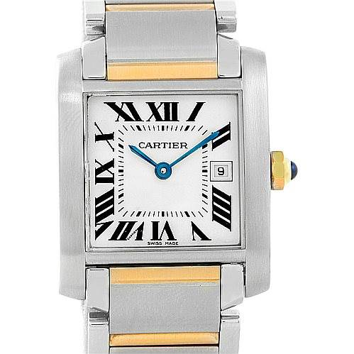 7065 Cartier Tank Francaise Midsize Steel 18k Gold W51012Q4 SwissWatchExpo