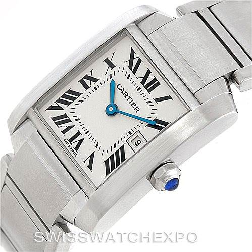 7184 Cartier Tank Francaise Midsize Stainless Steel Watch W51011Q3 SwissWatchExpo