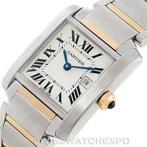 7097 Cartier Tank Francaise Midsize Steel 18k Gold Watch W51012Q4 SwissWatchExpo