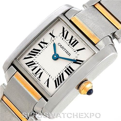 7086 Cartier Tank Francaise Small Steel 18k Gold Watch W51007Q4 SwissWatchExpo