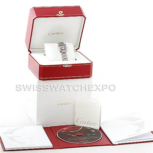 7298 Cartier Tank Francaise Pink Mother of Pearl Watch W51028Q3 SwissWatchExpo