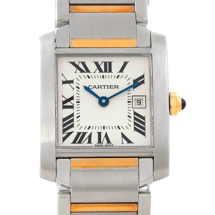 7155 Cartier Tank Francaise Midsize Steel 18k Gold Watch W51012Q4 SwissWatchExpo