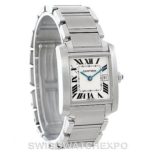 7305 Cartier Tank Francaise Midsize Stainless Steel Watch W51011Q3 SwissWatchExpo
