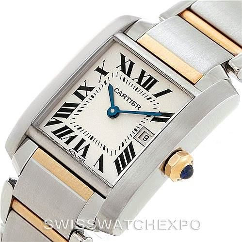 7604 Cartier Tank Francaise Midsize Steel 18k Gold Watch W51012Q4 SwissWatchExpo