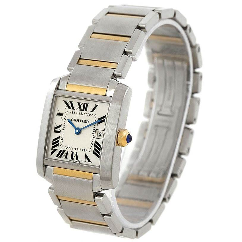 7654 Cartier Tank Francaise Midsize Steel 18k Gold Watch W51012Q4 SwissWatchExpo