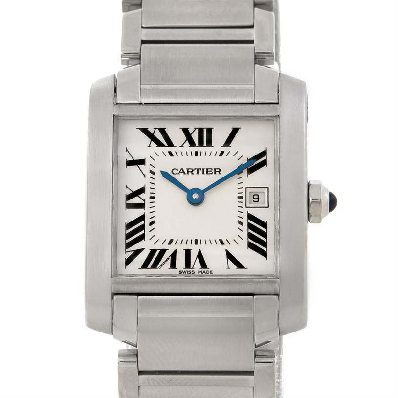 7409 Cartier Tank Francaise Midsize Stainless Steel Watch W51011Q3 SwissWatchExpo