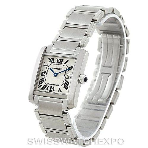 7682 Cartier Tank Francaise Midsize Stainless Steel Watch W51011Q3 SwissWatchExpo
