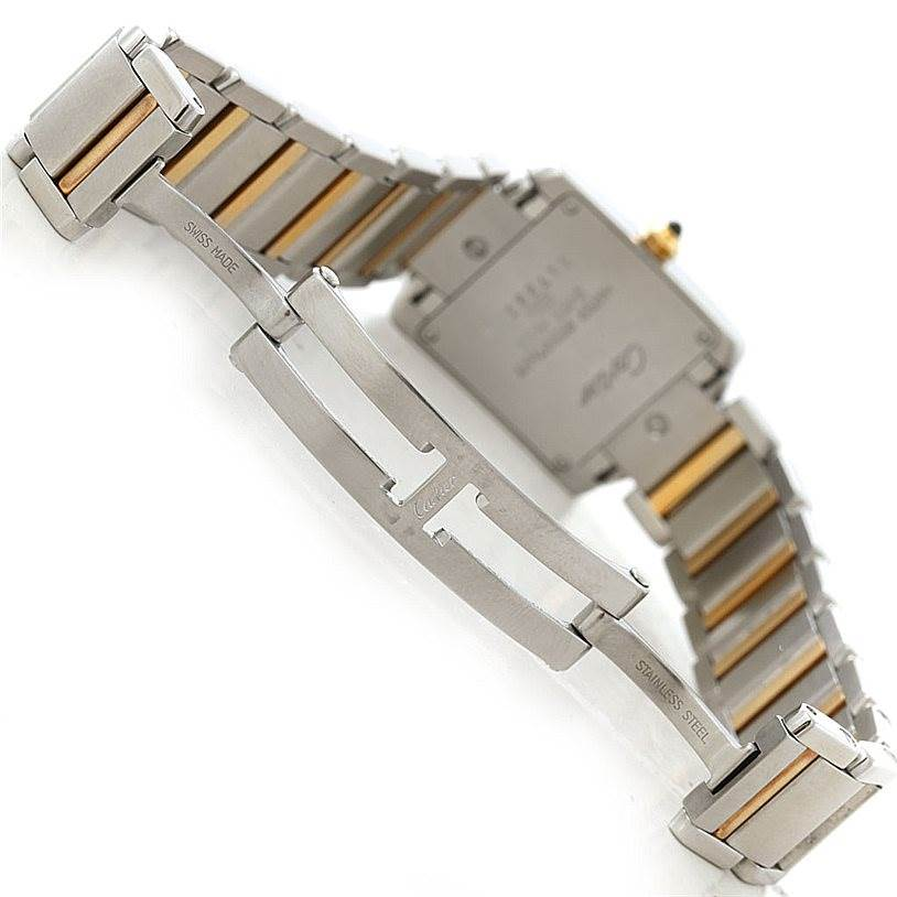 7771 Cartier Tank Francaise Small Steel 18k Gold Watch W51007Q4 SwissWatchExpo