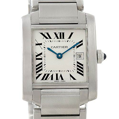 6498 Cartier Tank Francaise Midsize Stainless Steel Watch W51011Q3 SwissWatchExpo