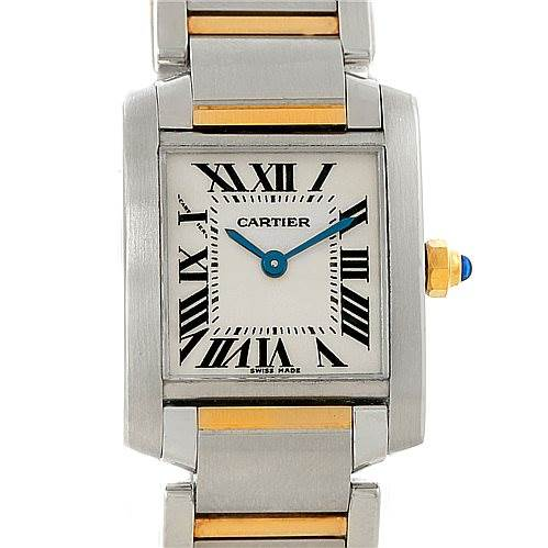 7996 Cartier Tank Francaise Small Steel 18k Gold Watch W51007Q4 SwissWatchExpo