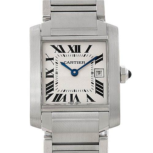 7830 Cartier Tank Francaise Midsize Stainless Steel Watch W51011Q3 SwissWatchExpo