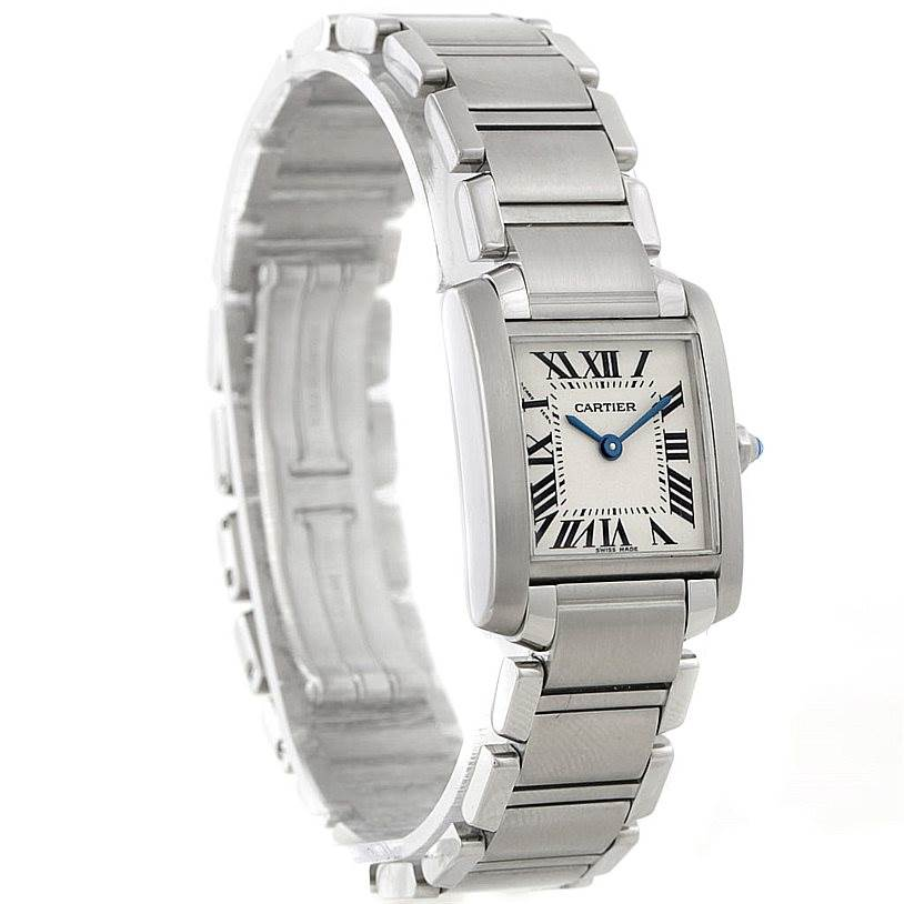 8158 Cartier Tank Francaise Small Stainless Steel Watch W51008Q3 SwissWatchExpo