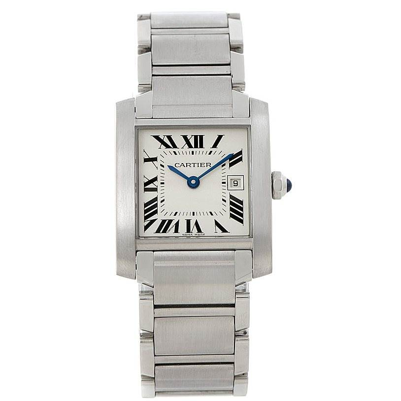 8103 Cartier Tank Francaise Midsize Stainless Steel Watch W51011Q3 SwissWatchExpo