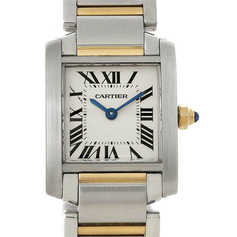8163 Cartier Tank Francaise Small Steel 18k Gold Watch W51007Q4 SwissWatchExpo