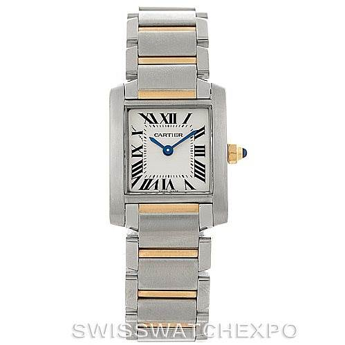 8160 Cartier Tank Francaise Small Steel 18k Gold Watch W51007Q4 SwissWatchExpo