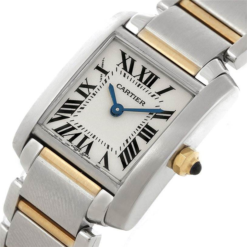 8223 Cartier Tank Francaise Small Steel 18k Gold Watch W51007Q4 SwissWatchExpo