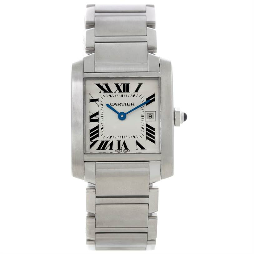8457 Cartier Tank Francaise Midsize Stainless Steel Watch W51011Q3 SwissWatchExpo