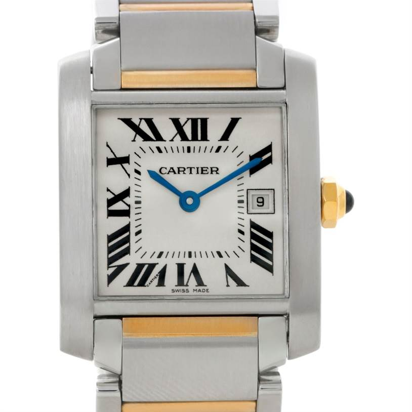 8643 Cartier Tank Francaise Midsize Steel 18k Gold Watch W51012Q4 SwissWatchExpo