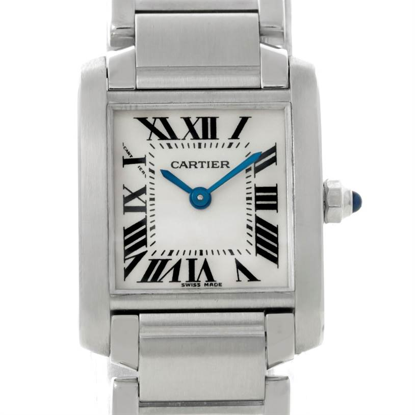 8599 Cartier Tank Francaise Small Stainless Steel Watch W51008Q3 SwissWatchExpo