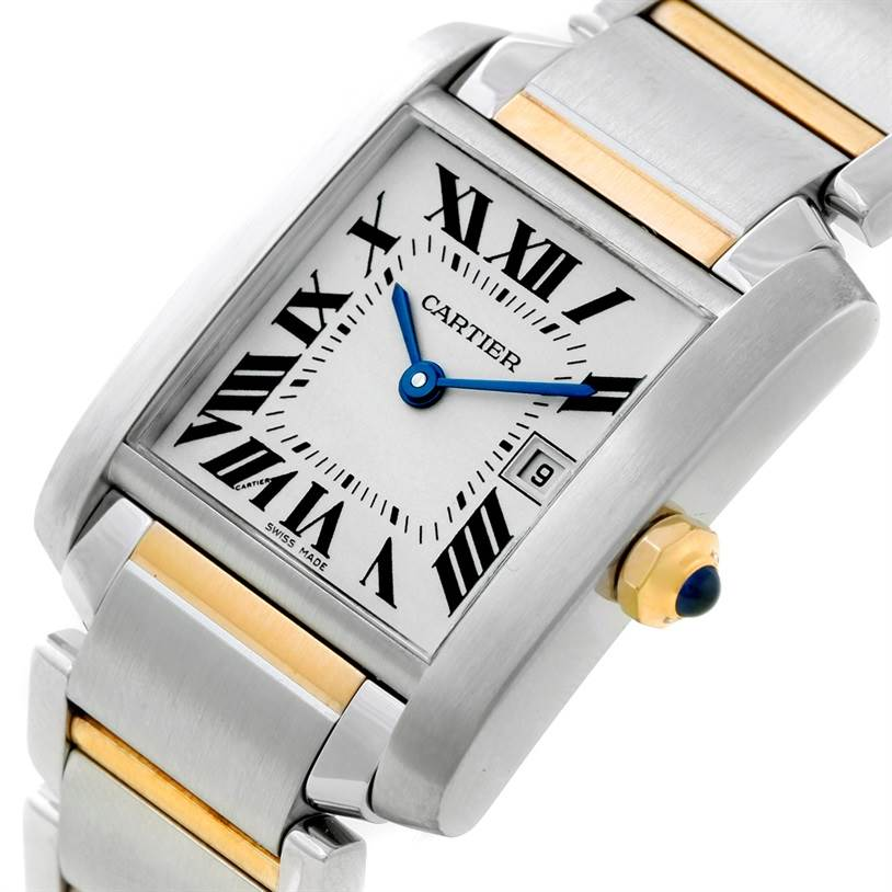 8512 Cartier Tank Francaise Midsize Steel 18k Gold Watch W51012Q4 SwissWatchExpo