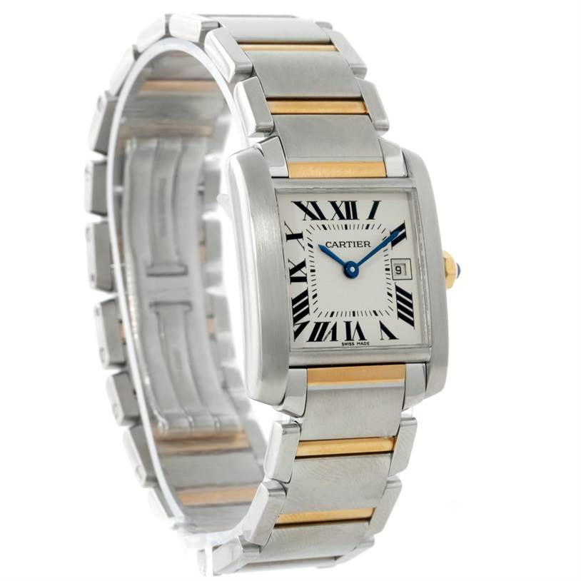 7675 Cartier Tank Francaise Midsize Steel 18k Gold Watch W51012Q4 SwissWatchExpo