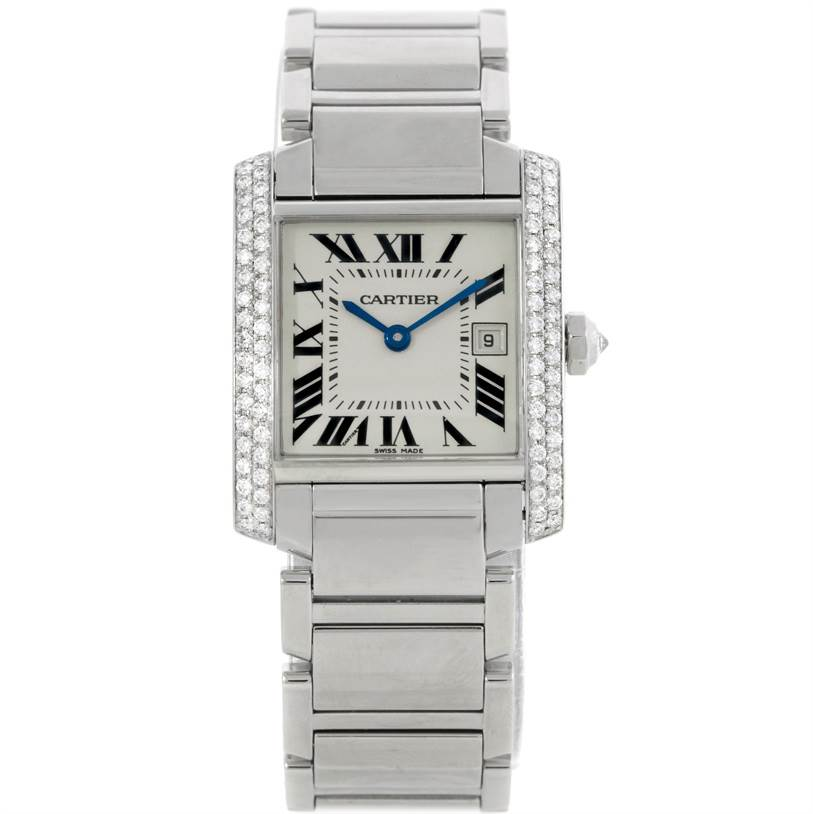 9085 Cartier Tank Francaise Midsize Stainless Steel Diamond Watch W51011Q3 SwissWatchExpo