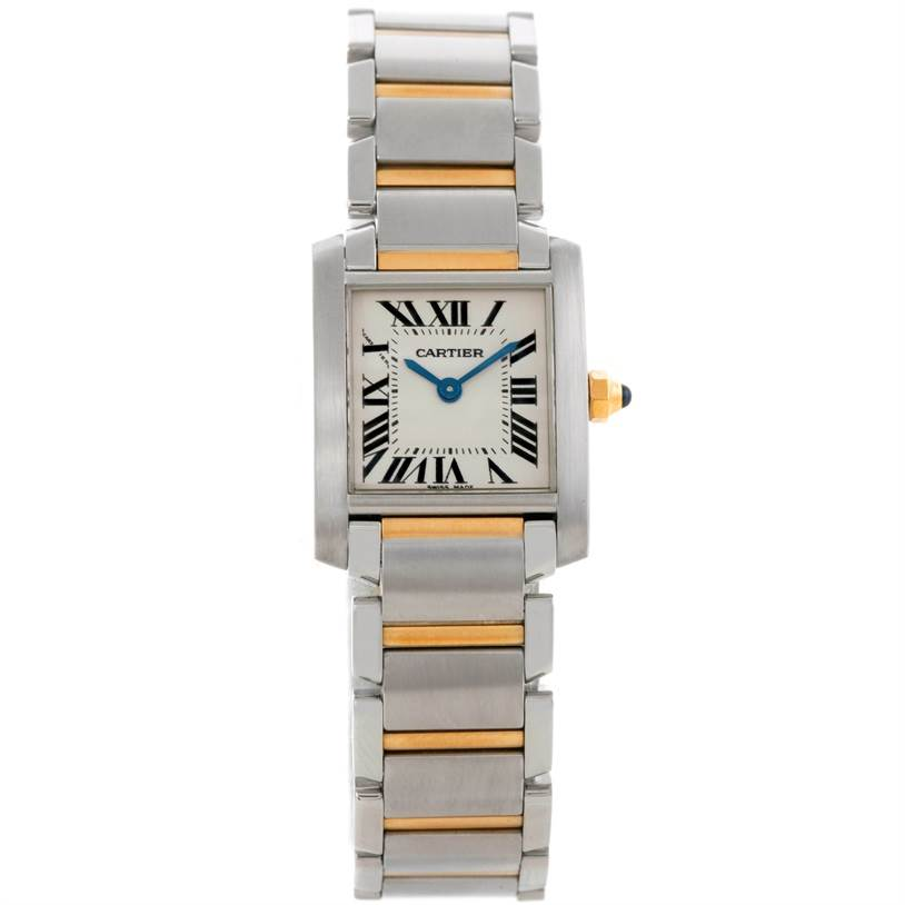 9081 Cartier Tank Francaise Small Steel 18k Gold Watch W51007Q4 SwissWatchExpo