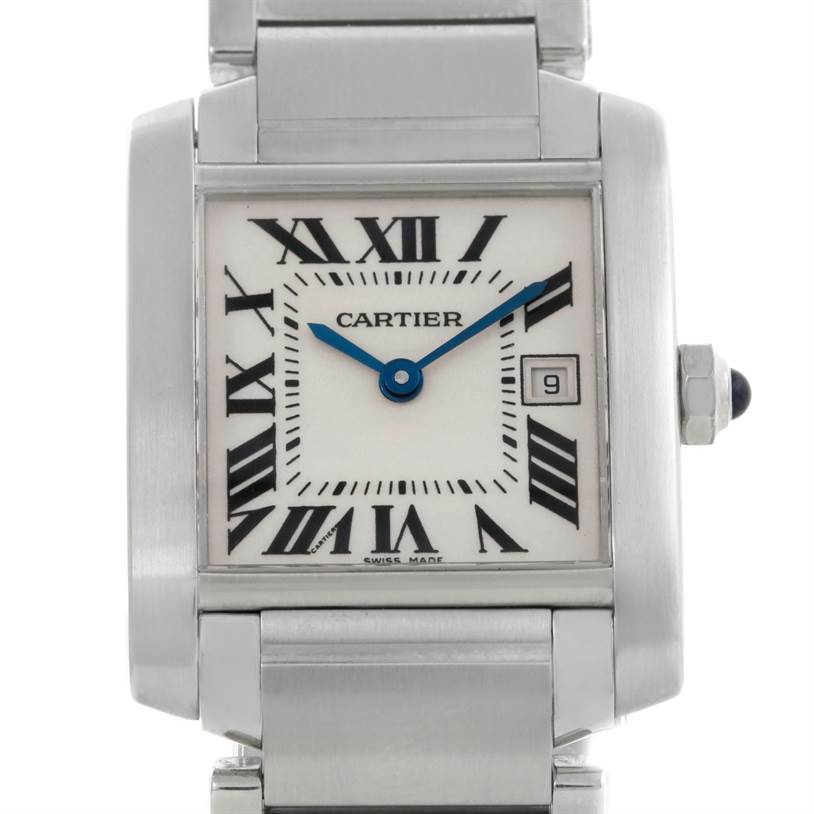 8186 Cartier Tank Francaise Midsize Stainless Steel Watch W51011Q3 SwissWatchExpo