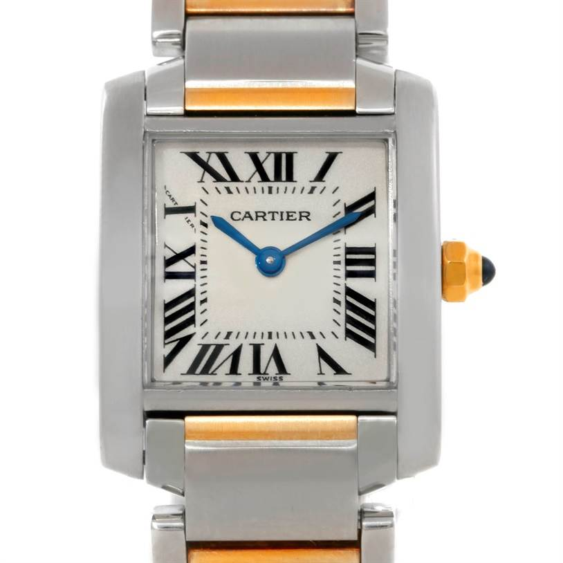 9315 Cartier Tank Francaise Small Steel 18k Gold Watch W51007Q4 SwissWatchExpo