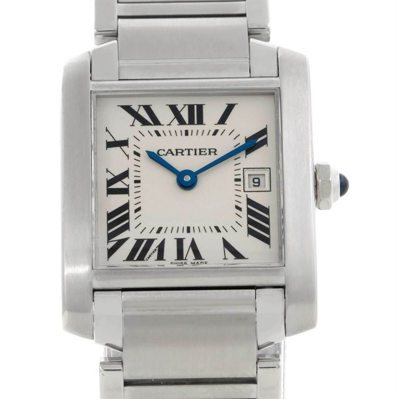 8252 Cartier Tank Francaise Midsize Stainless Steel Watch W51011Q3 SwissWatchExpo