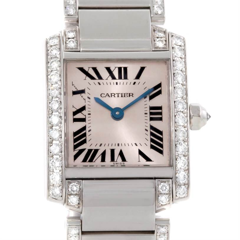 9410P Cartier Tank Francaise Small 18k White Gold Diamond Watch WE1002SF SwissWatchExpo