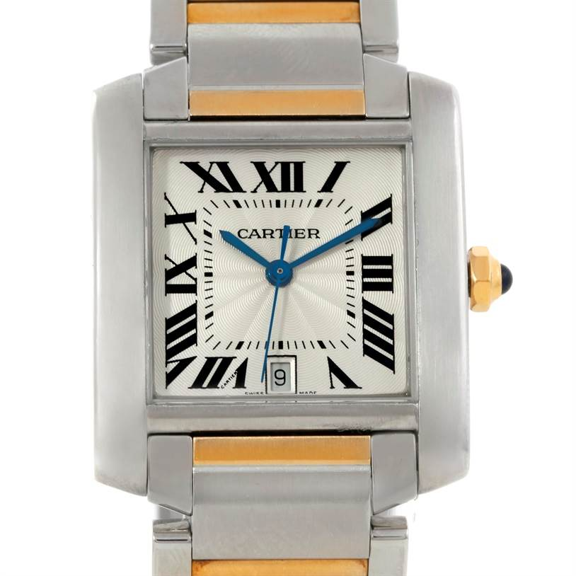 Cartier Tank Francaise Large Steel 18K Yellow Gold Watch W51005Q4 SwissWatchExpo