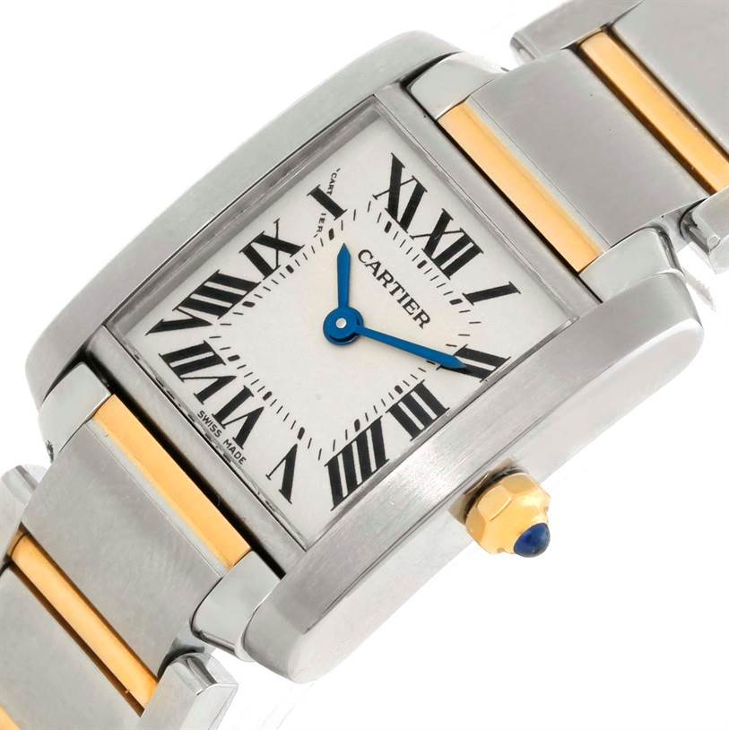 9890 Cartier Tank Francaise Small Steel 18k Yellow Gold Watch W51007Q4 SwissWatchExpo