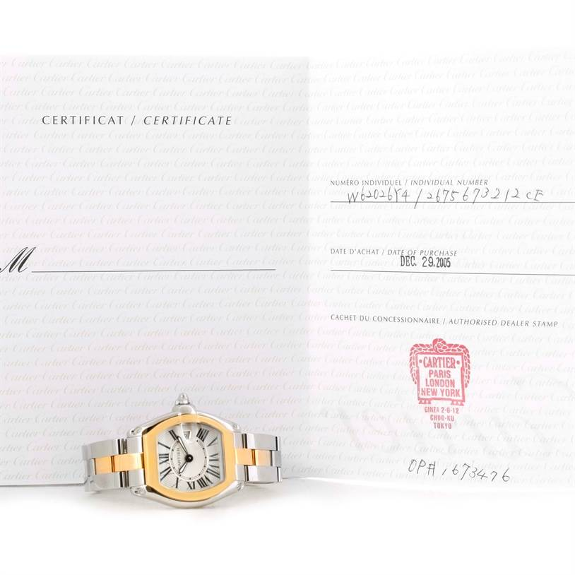 10351 Cartier Roadster Ladies Steel and Yellow Gold Watch W62026Y4 SwissWatchExpo