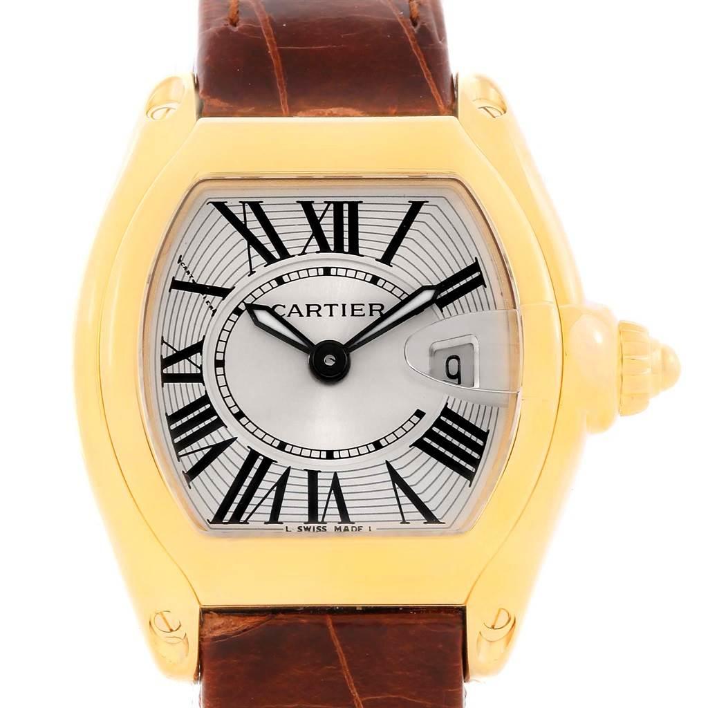 10816 Cartier Roadster Ladies 18K Yellow Gold Brown Strap Watch W62018Y5 SwissWatchExpo