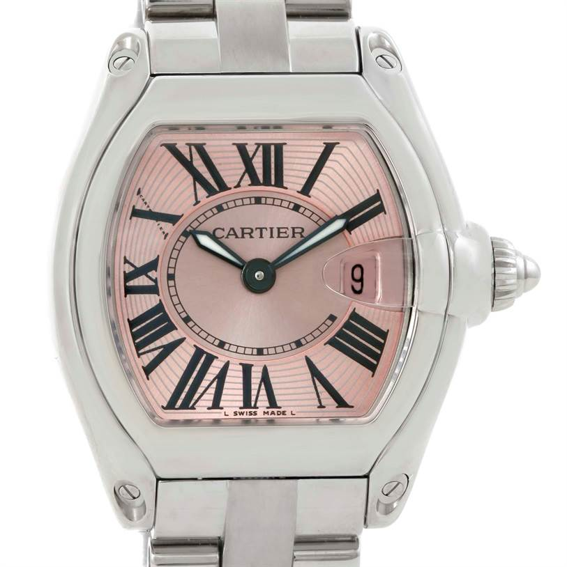 8108 Cartier Roadster Ladies Pink Dial Watch W62017V3 Box Papers Strap SwissWatchExpo