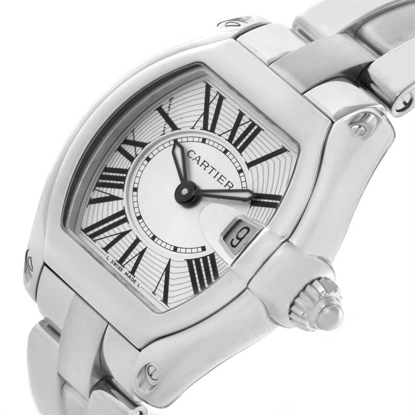 9442 Cartier Roadster Silver Dial Ladies Small Steel Watch W62016V3 SwissWatchExpo