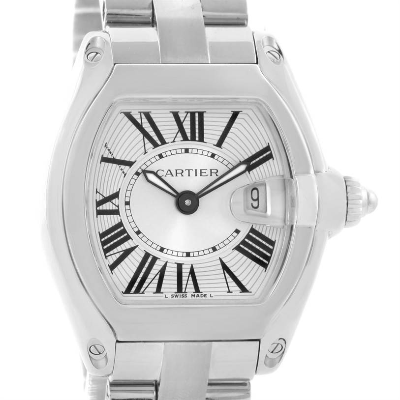 11941 Cartier Roadster Silver Dial Ladies Watch W62016V3 Box Papers Strap SwissWatchExpo