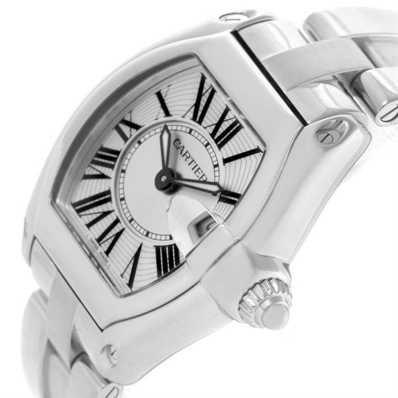 8417 Cartier Roadster Silver Dial Ladies Small Steel Watch W62016V3 SwissWatchExpo