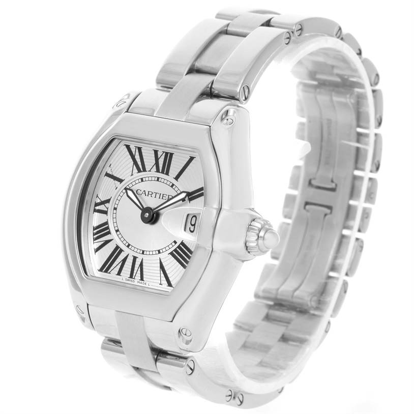 10007 Cartier Roadster Silver Dial Ladies Stainless Steel Watch W62016V3 SwissWatchExpo