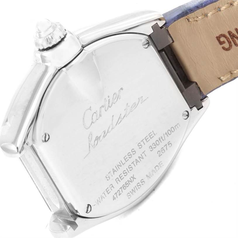 12277 Cartier Roadster Ladies Mother of Pearl Dial Steel Watch W6206007 SwissWatchExpo