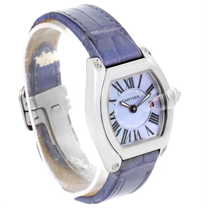 12277 Cartier Roadster Ladies Mother of Pearl Dial Steel Watch W6206007 SwissWatchExpo