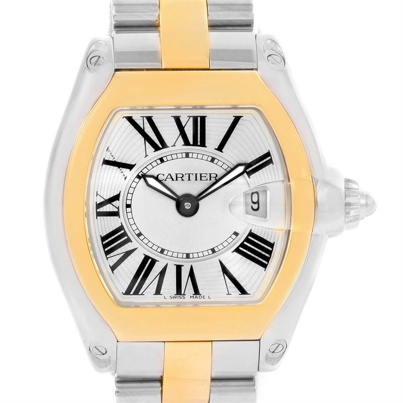 12245 Cartier Roadster Ladies Steel Yellow Gold Silver Dial Watch W62026Y4 SwissWatchExpo