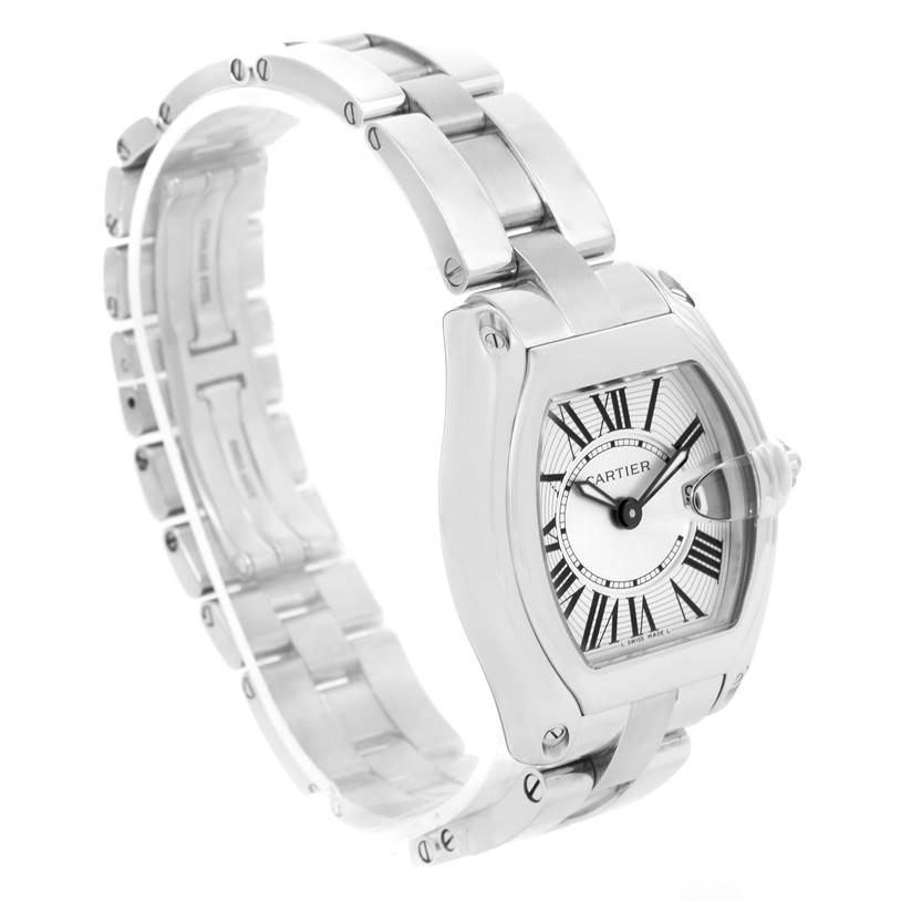 12796 Cartier Roadster Silver Dial Ladies Watch W62016V3 Box Papers SwissWatchExpo