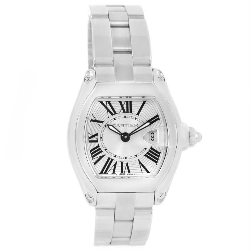 12658 Cartier Roadster Silver Dial Ladies Watch W62016V3 Box Papers SwissWatchExpo
