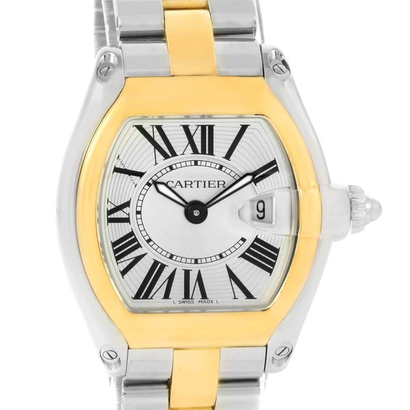 12246 Cartier Roadster Ladies Steel Yellow Gold Silver Dial Watch W62026Y4 SwissWatchExpo