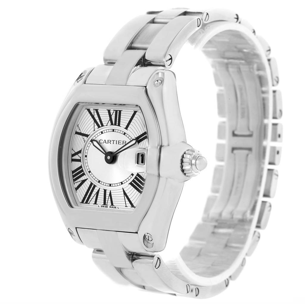 13524 Cartier Roadster Silver Dial Ladies Watch W62016V3 Box Papers Strap SwissWatchExpo