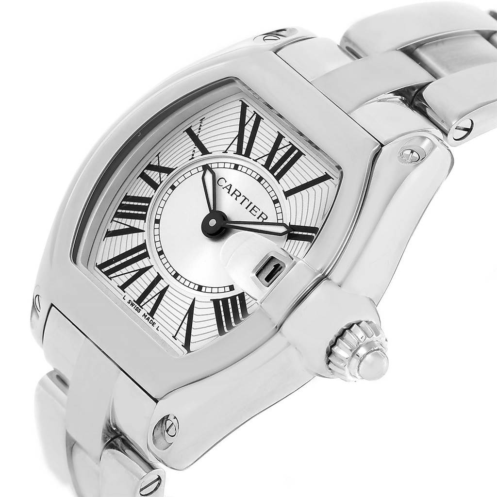 9546S Cartier Roadster Silver Dial Ladies Stainless Steel Watch W62016V3 SwissWatchExpo