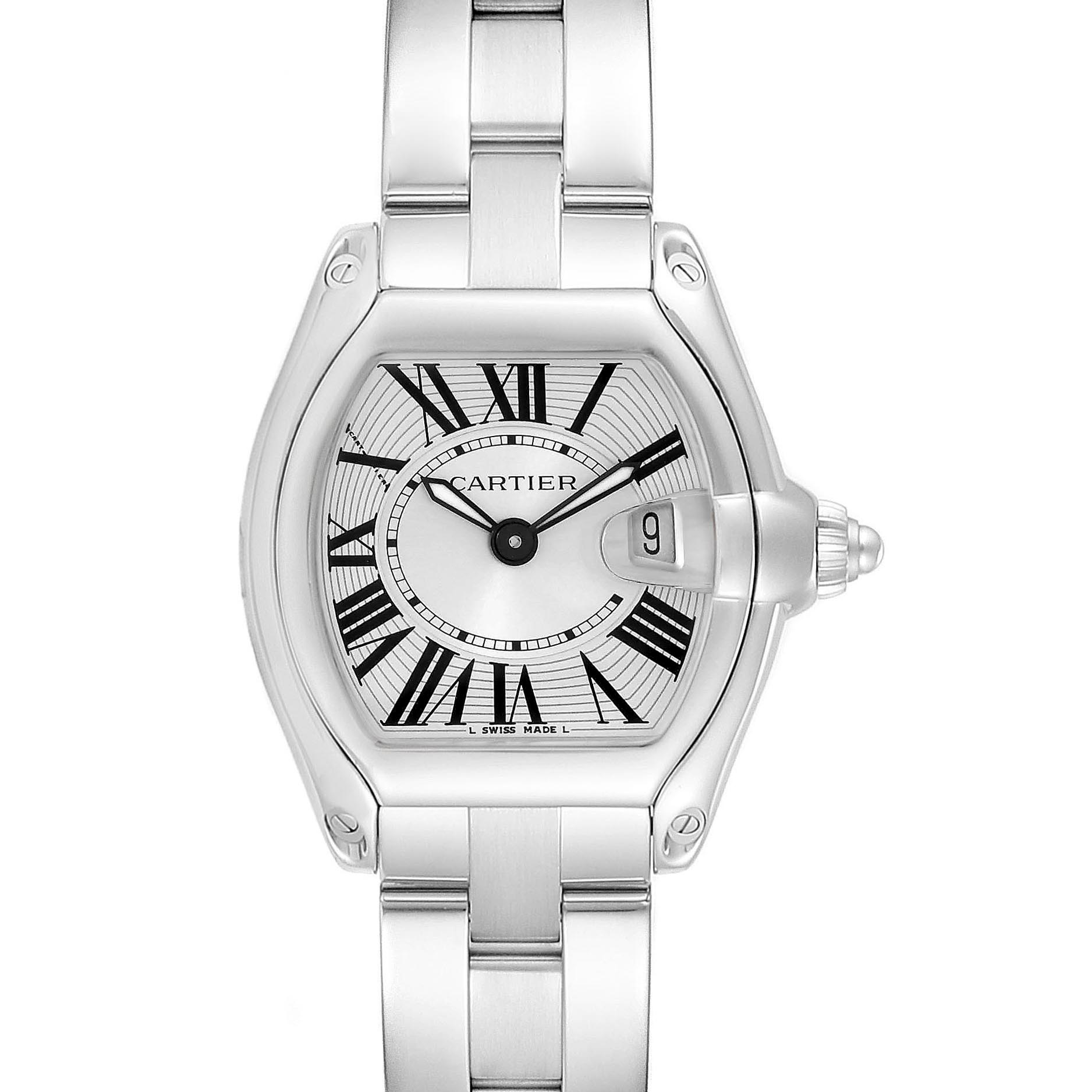 Cartier Roadster Silver Dial Ladies Stainless Steel Watch W62016V3 SwissWatchExpo