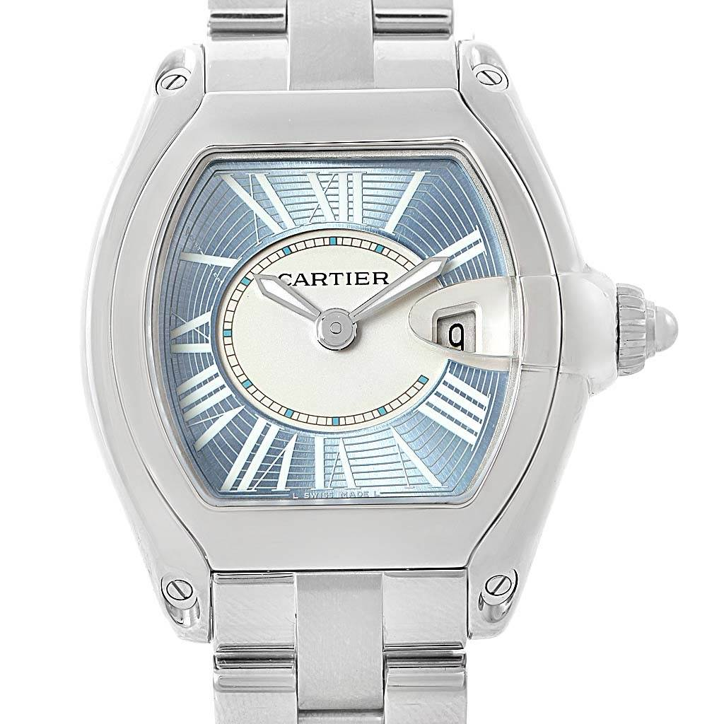 14440 Cartier Roadster Blue Dial Steel Ladies Watch W62053V3 SwissWatchExpo